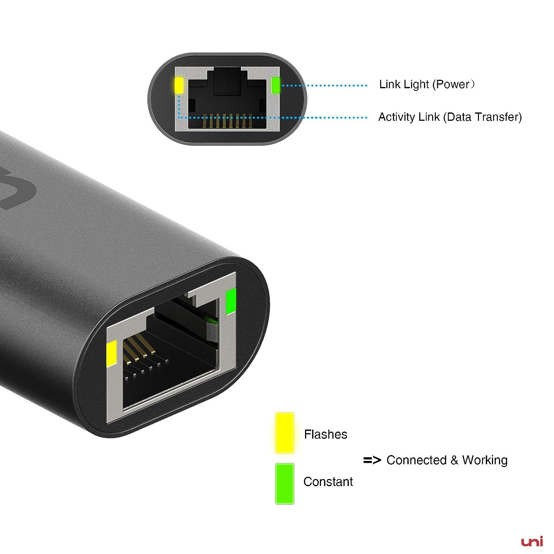 uni USB C 3.1 zu RJ45 Gigabit Ethernet 1000Mbps LAN Netzwerkadapterkabel f/ür MacBook Dell XPS Space Grau Surface Book 2//Go und mehr USB C auf Ethernet Adapter