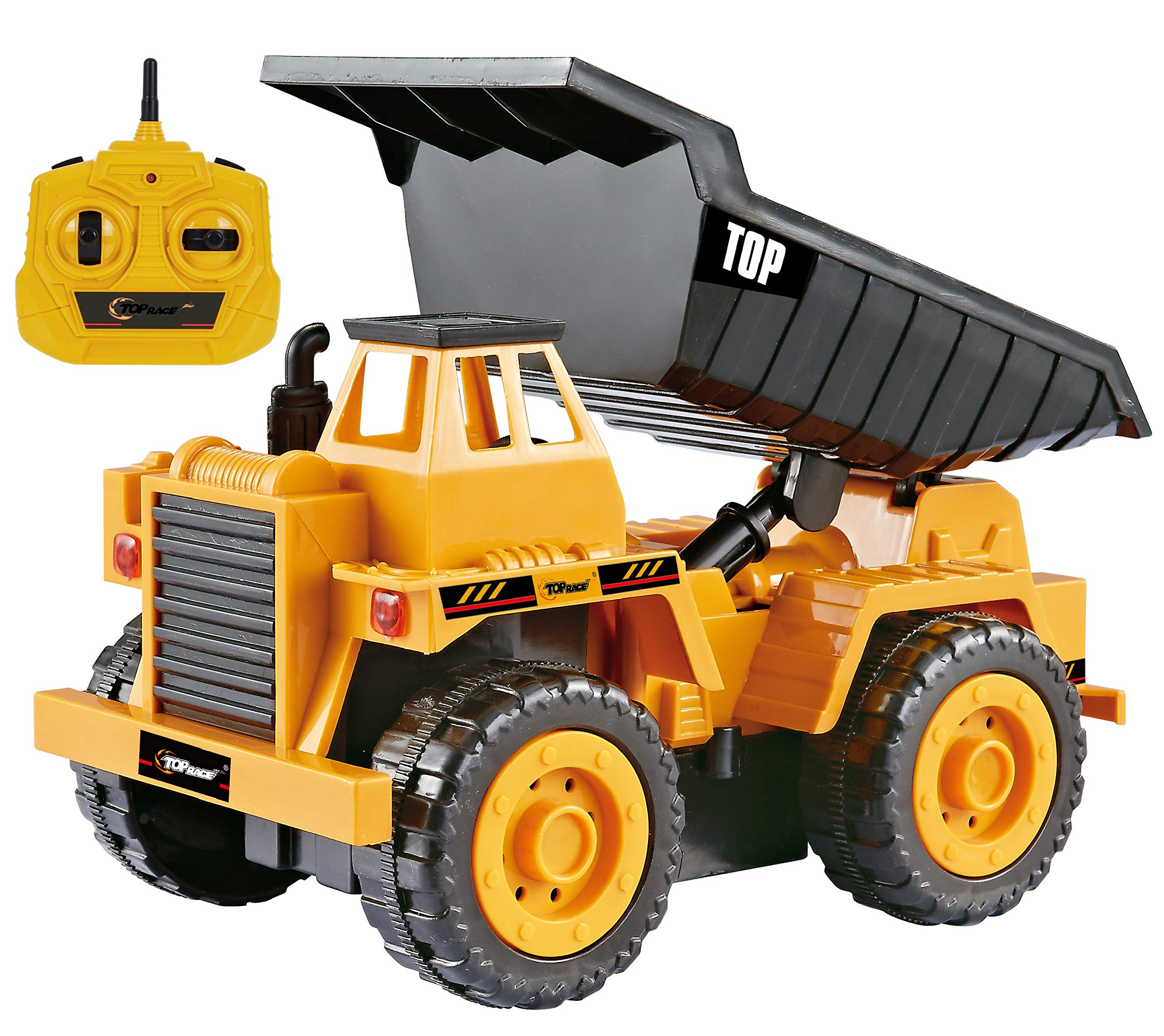 Top Race 5 Channel Fully Functional Remote Control Construction Truck Kids Size Designed for Small Hands (Dump Truck)