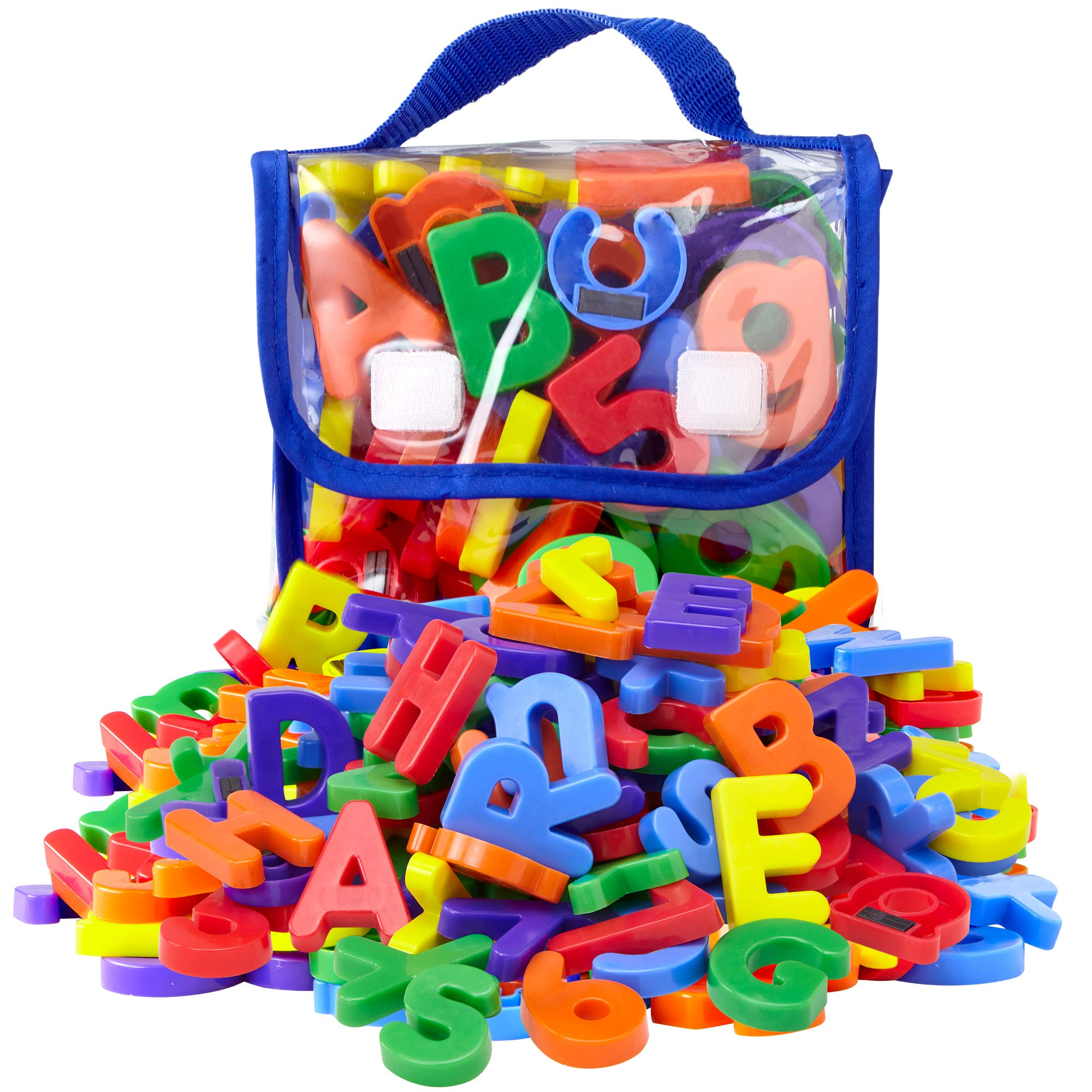 EduKid Toys 72 Magnetic Letters & Numbers (Tote) 1.25'' - 1.75'' (72 ABC Alphabet Magnet Letter)
