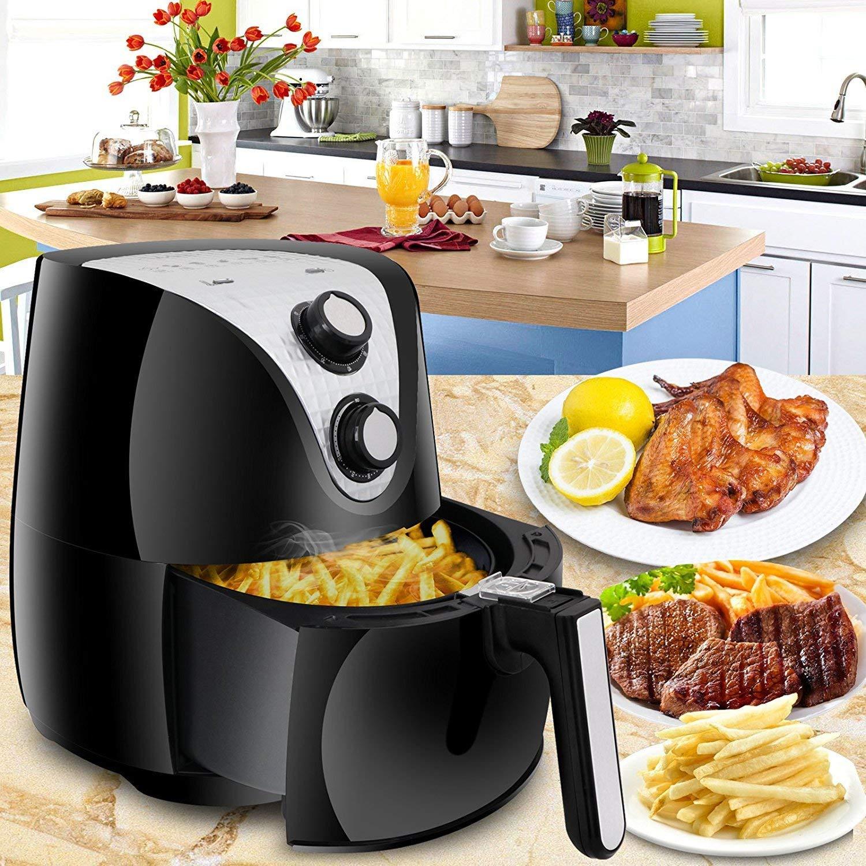 SUPER DEAL Electric Air Fryer XL 3.7 Quart 1500W w/Timer, Temperature Control, Detachable Basket, Fry Healthy with 80% Less Fat