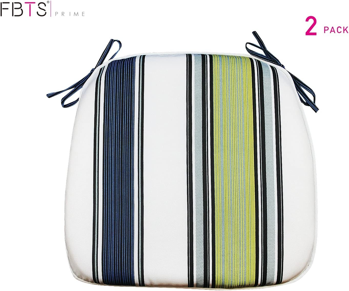 FBTS Prime Outdoor Chair Cushions (Set of 2) 16x17 Inches Patio Seat Cushions Navy Yellow and White Stripe Square Chair Pads for Outdoor Patio Furniture Garden Home Office