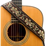 CLOUDMUSIC Guitar Strap Jacquard Weave Strap With Leather Ends Vintage Classical Pattern Design Picks Free (Vintage…