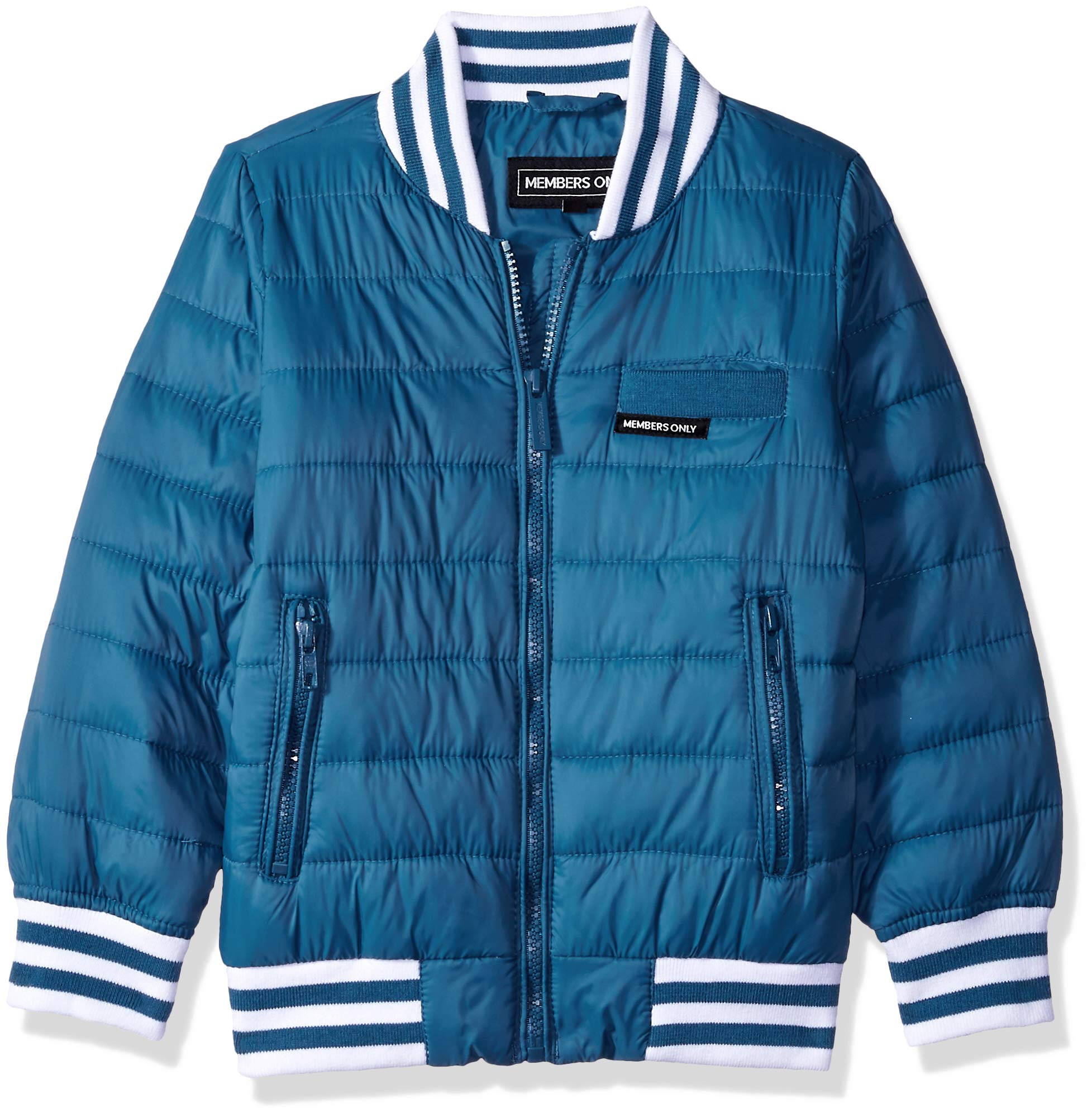 Members Only Boys' Little Blend Quilted Bomber Jacket, deep sea, 5 by Members Only (Image #1)