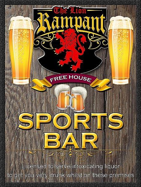 The Lion Rampant Sports Bar Placa Cartel Vintage Estaño ...