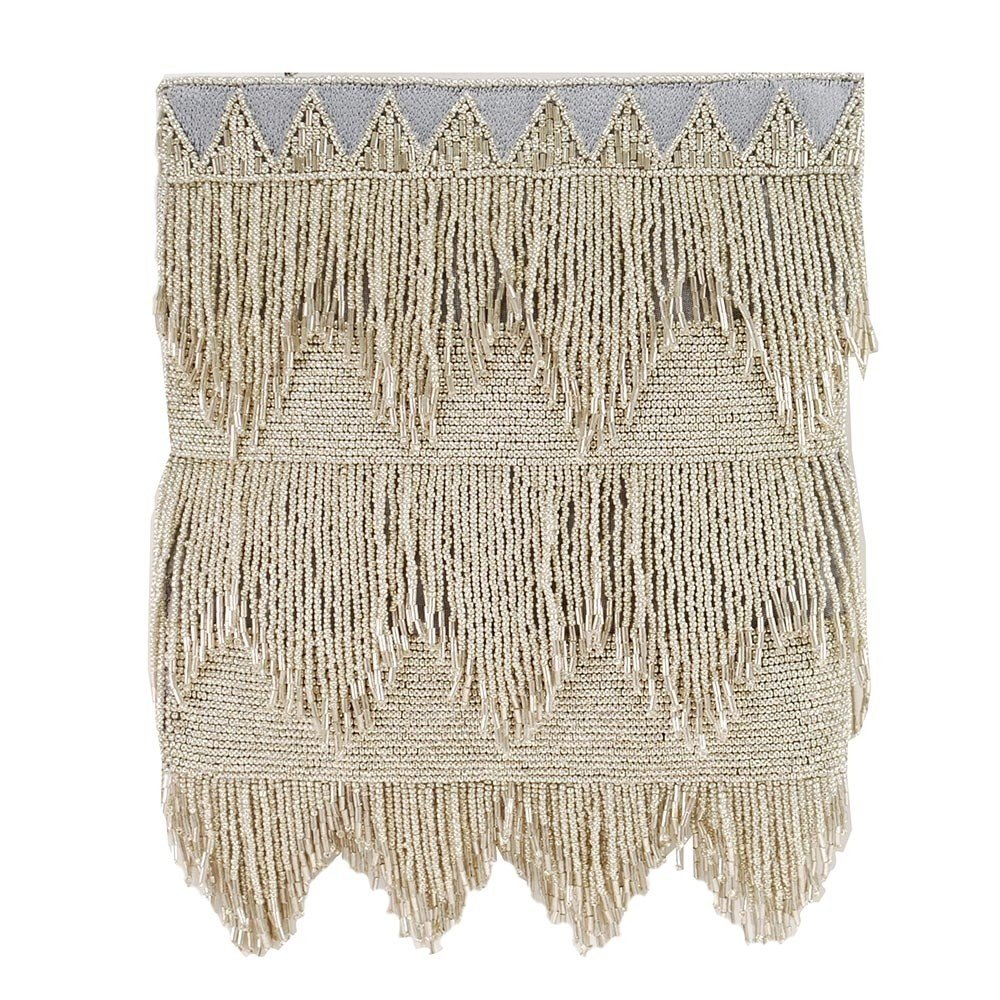 e6e360aa4 MARY FRANCES Flapper, Silver Beaded Fringe Crossbody Handbag: Amazon.co.uk:  Shoes & Bags