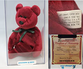 Amazon.com  Ty Teddy NF Cranberry Authenticated - Rare Mint 259785fb84d3