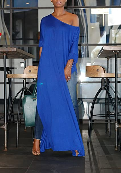 387e70982719 Freestyle Donna Cocktail Festa Blusa Sexy Entrambe Le Parti Spacco Tinta  Unita T-Shirt Vestito Casual Sciolto Rotondo Collo Maglie a Manica Lunga  Maglietta ...