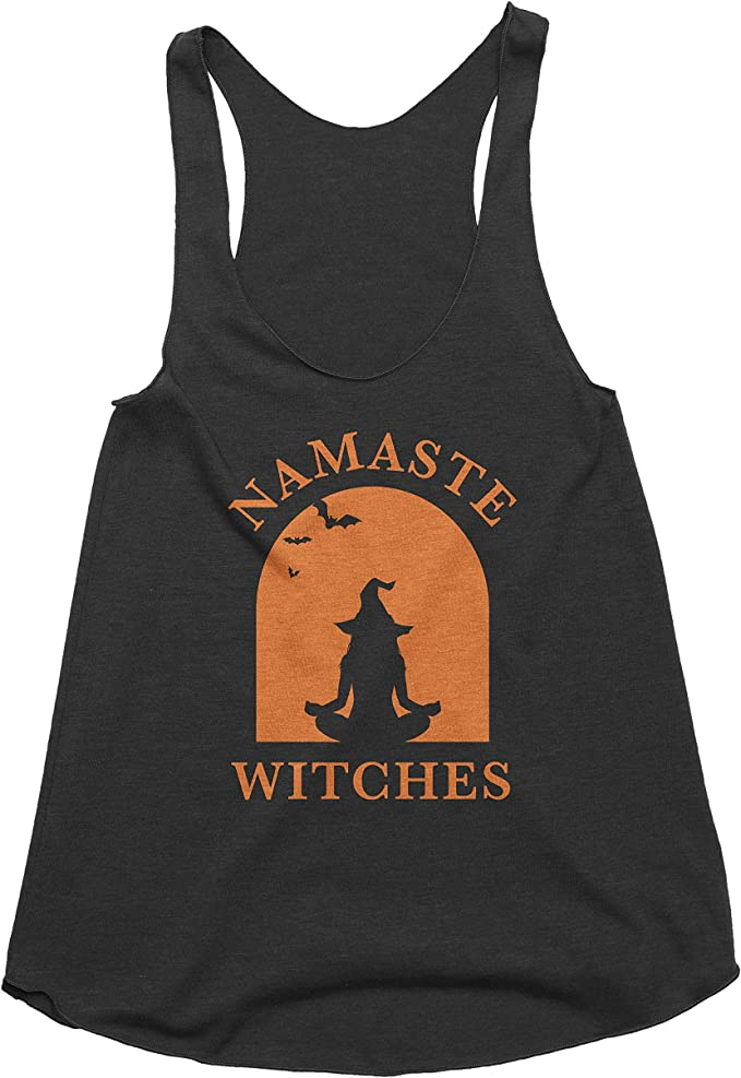 Spunky Pineapple Namaste Witches Halloween Yoga Graphic Shirt Tank Top