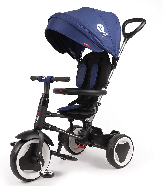 Cochecito triciclo plegable Qplay Rito 3en1con barra orientable y capota para el sol. Color: azul