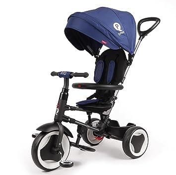 Cochecito triciclo plegable Qplay Rito 3 en1 con barra orientable y capota para el sol. Color: azul: Amazon.es: Juguetes y juegos