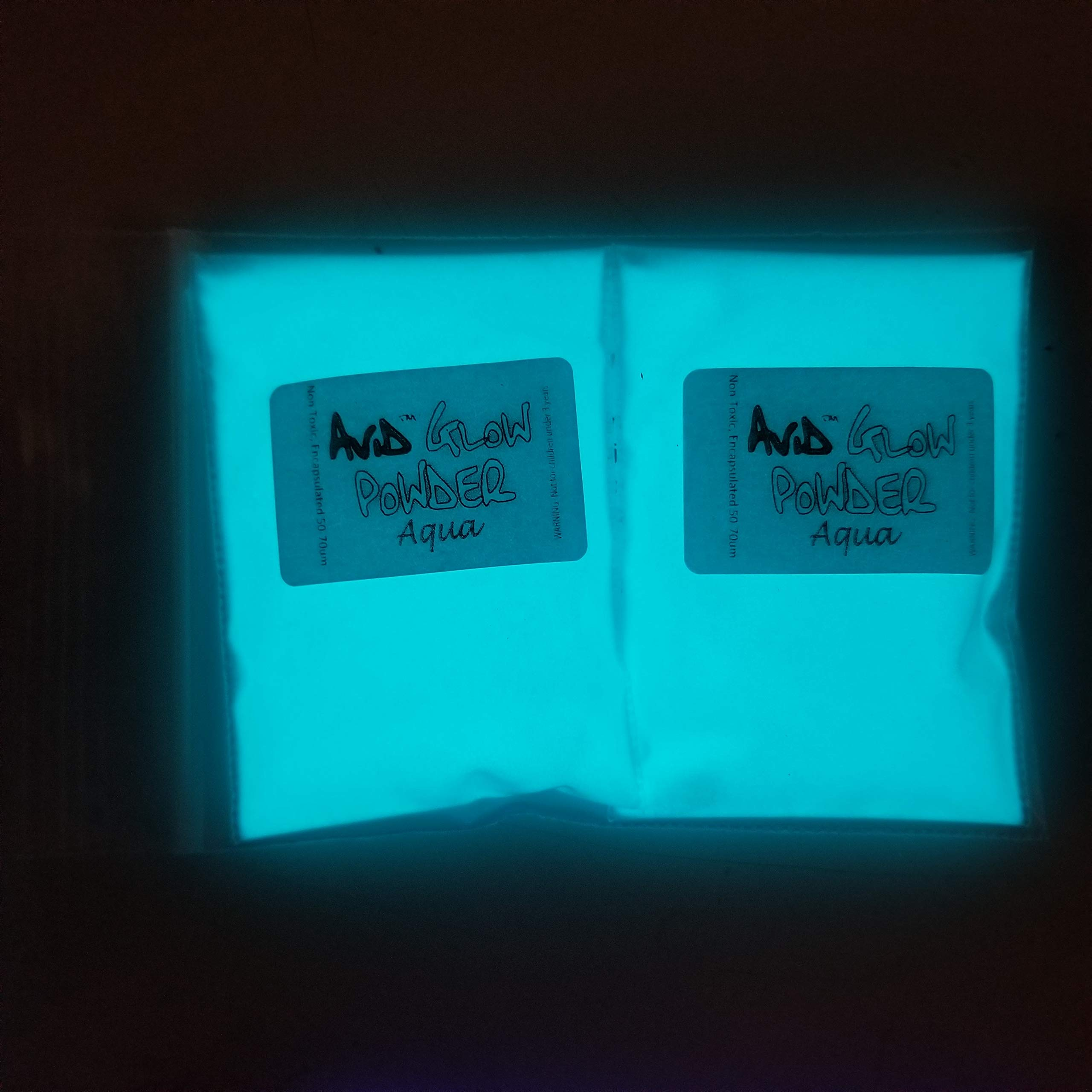 Glow in The Dark Pigment Powder; Neutral in Daylight, Aqua Glow in Dark; 2.9oz (80g); for Resin, Slime, Nail Polish, Paints (2 Pack of 40g Each)