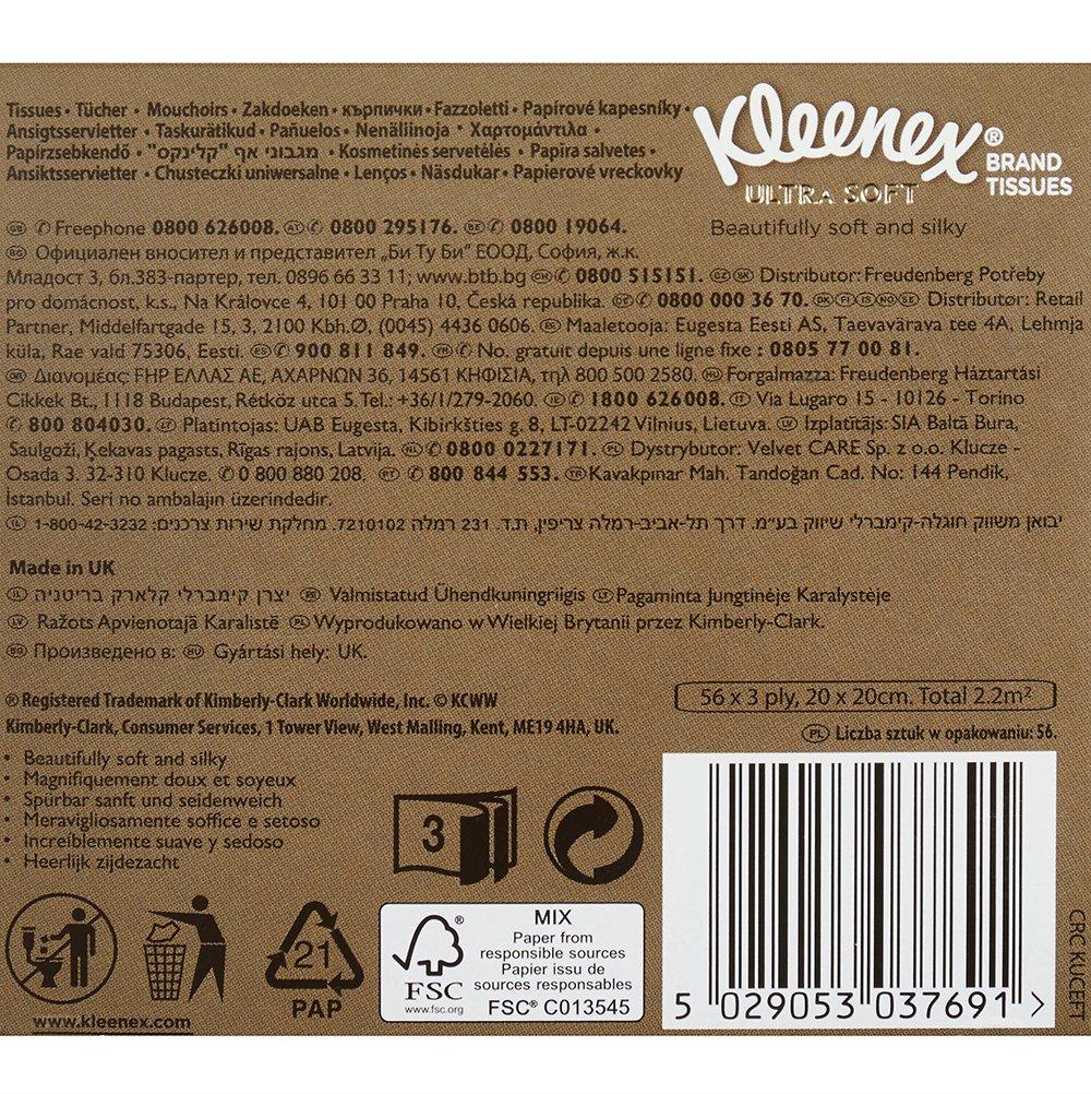 1er Pack 1 x 56 unidades Kleenex W/ürfelbox Ultra Soft pa/ñuelos