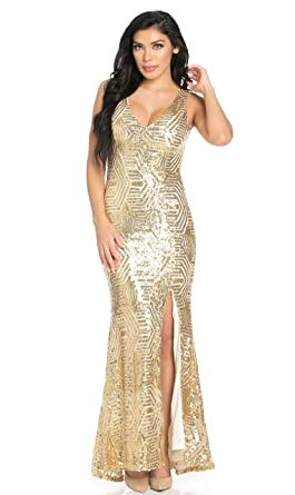 SOHO GLAM Geo Pattern Sequin Design Open Back Side Slit Mermaid Tail Maxi Dress in Light