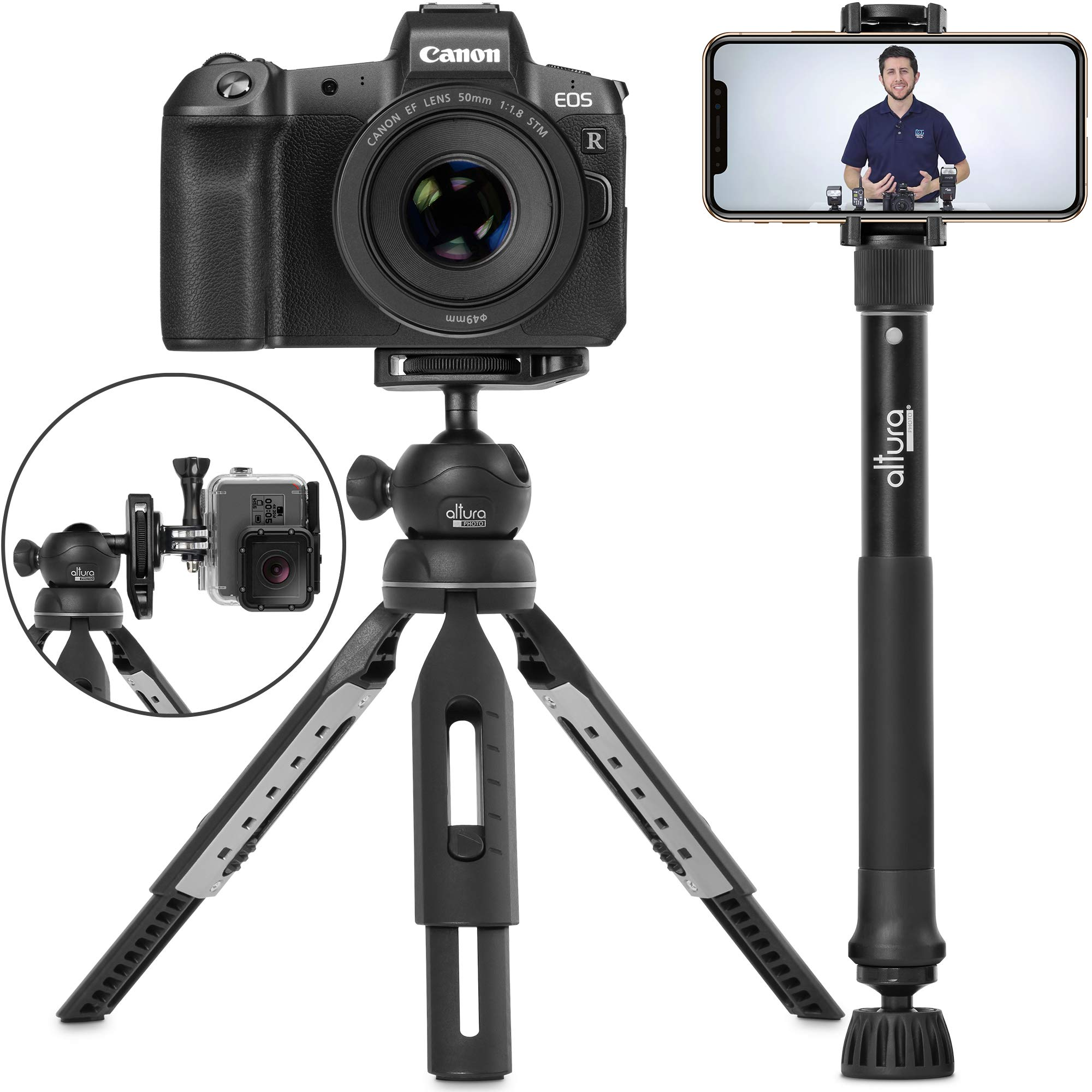 6 in 1 Monopod Tripod Kit by Altura Photo - Universal 55'' Telescoping DSLR Camera, GoPro, Cell Phone Holder Selfie Stick with Tripod Base, 360 Ball Head and Carry Bag