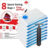 Vacuum Seal Storage Bags 8 Pack (Real Jumbo Size + FREE hand pump) with 100% MONEY BACK GUARANTEE. Premium Quality Vacuum Storage Bags, Original Vacuum Seal Storage Bags by ExcelBuys. SIZE 27.5 in X 39.5 in, or 70 cm X 100 cm. 80% More Storage Value for Your Dollar vs. others!