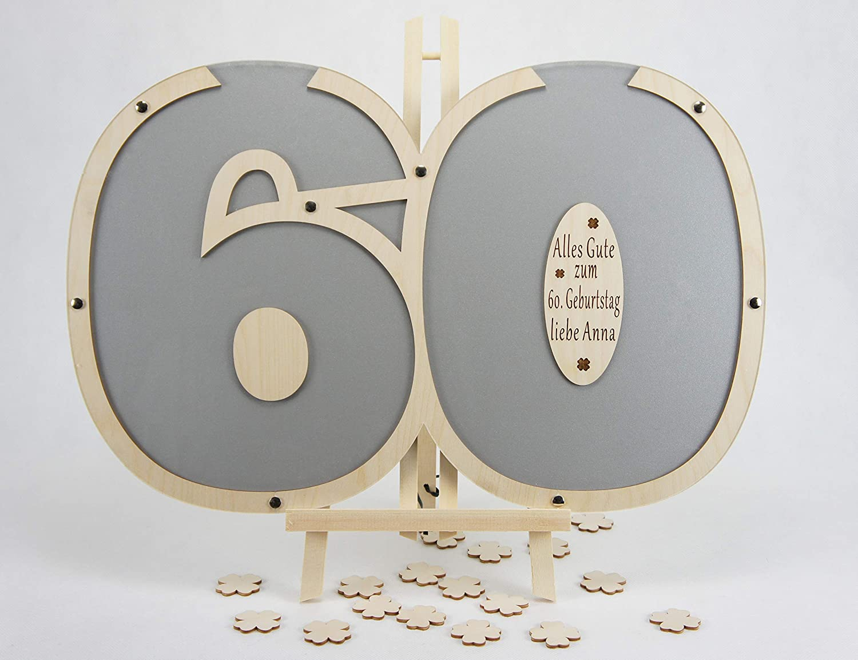 Laserano Gästebuch 60. Geburtstag personalisierbar (Silber) 60x40cm