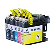 103XL Printer Ink 5 Pack Compatible with Brother DCP J152W MFC J450DW J470DW J475DW J650DW J870DW J875DW Printer