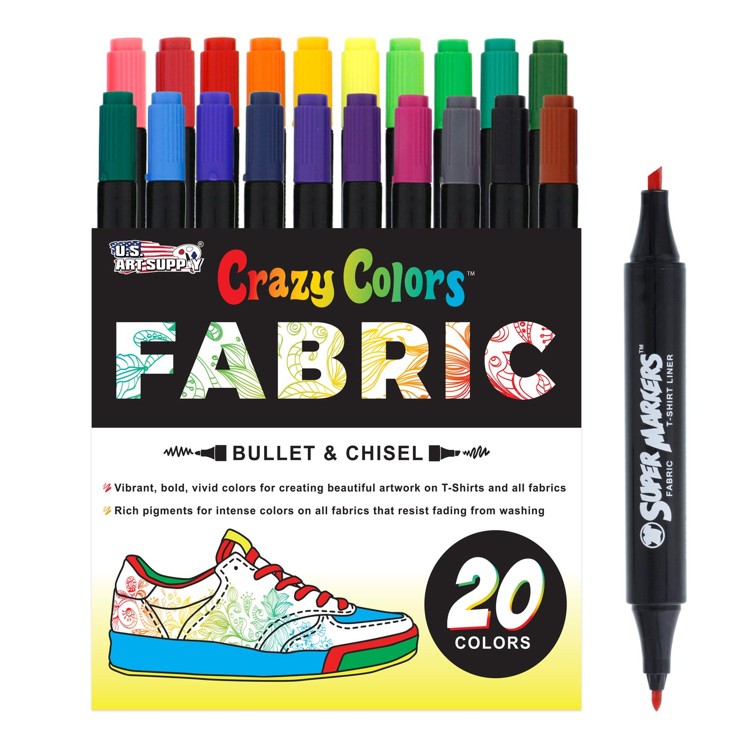 Super Markers 20 Unique Colors Dual Tip Fabric & T-Shirt Marker Set-Double-Ended Fabric Markers with Chisel Point and Fine Point Tips - 20 Permanent Ink Vibrant and Bold Colors US Art Supply SM-132