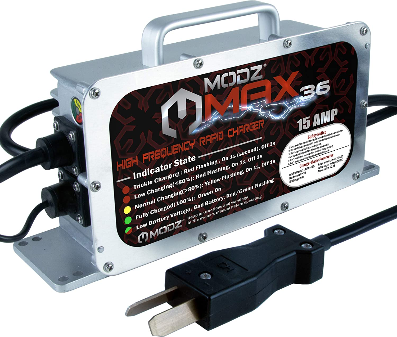 amazon com: modz max36 15 amp charger for 36 volt golf carts with crowfoot  plug: automotive