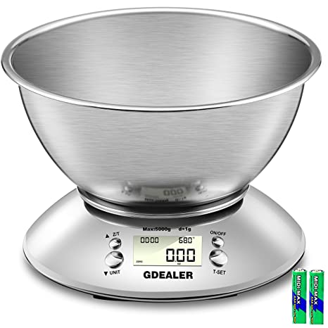 Gdealer Digital Kitchen Scale 11lb 5kg Accuracy Food Scale Multifunction Kitchen Scale With Bowl Stainless Steel 2 15l Liquid Volume Alarm Timer