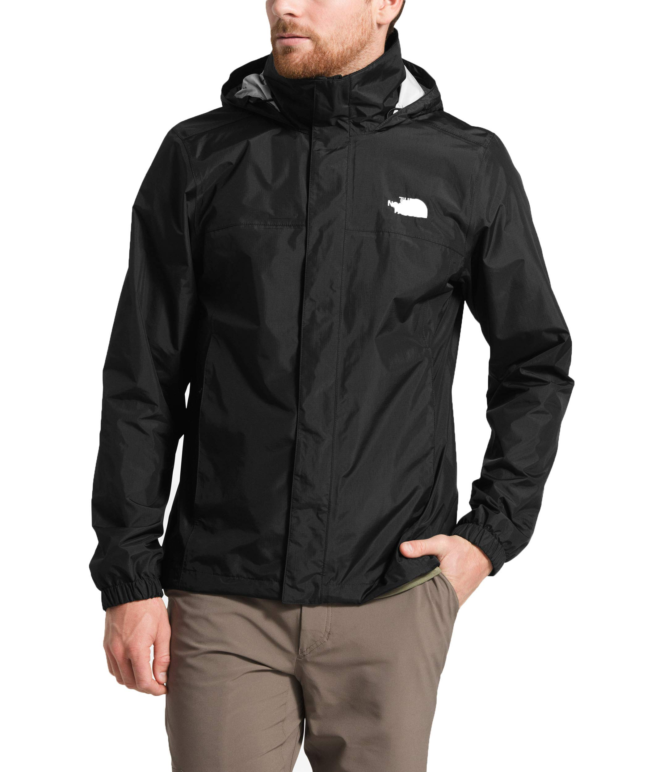 The North Face Men's Resolve 2 Jacket, TNF Black/High Rise Grey Campfire Print, Size L