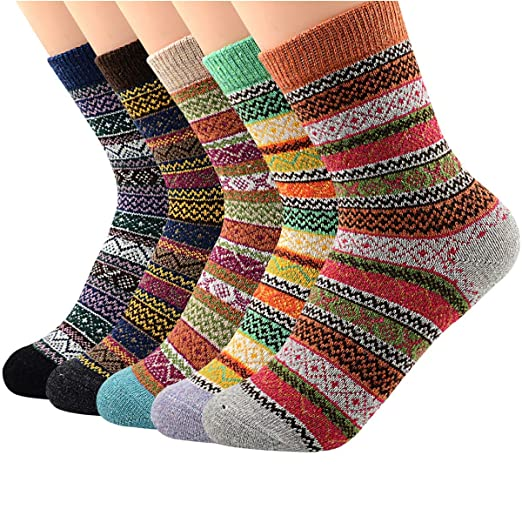 558b4318d04d7 Zando Women Winter Warm Wool Sock Cute Thick Crew Socks Athletic Sport  Christmas Gifts Cabin Sock