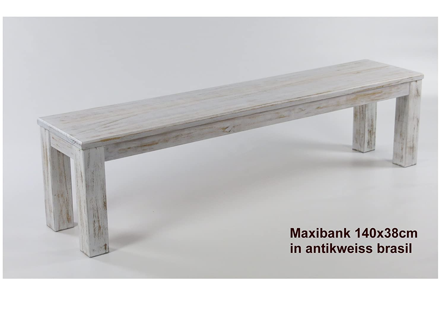 MassivholzmÖbel Kuckuck Bench 140 X 38 Cm Tonal Antique Weiss Brasil - Solid Pine Oiled Bank And Waxed
