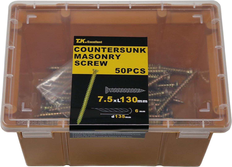 T.K.Excellent M7.5*120mm 50pcs b/éton multi Fix vis /à encadrer avec gratuit Torx 30 bits