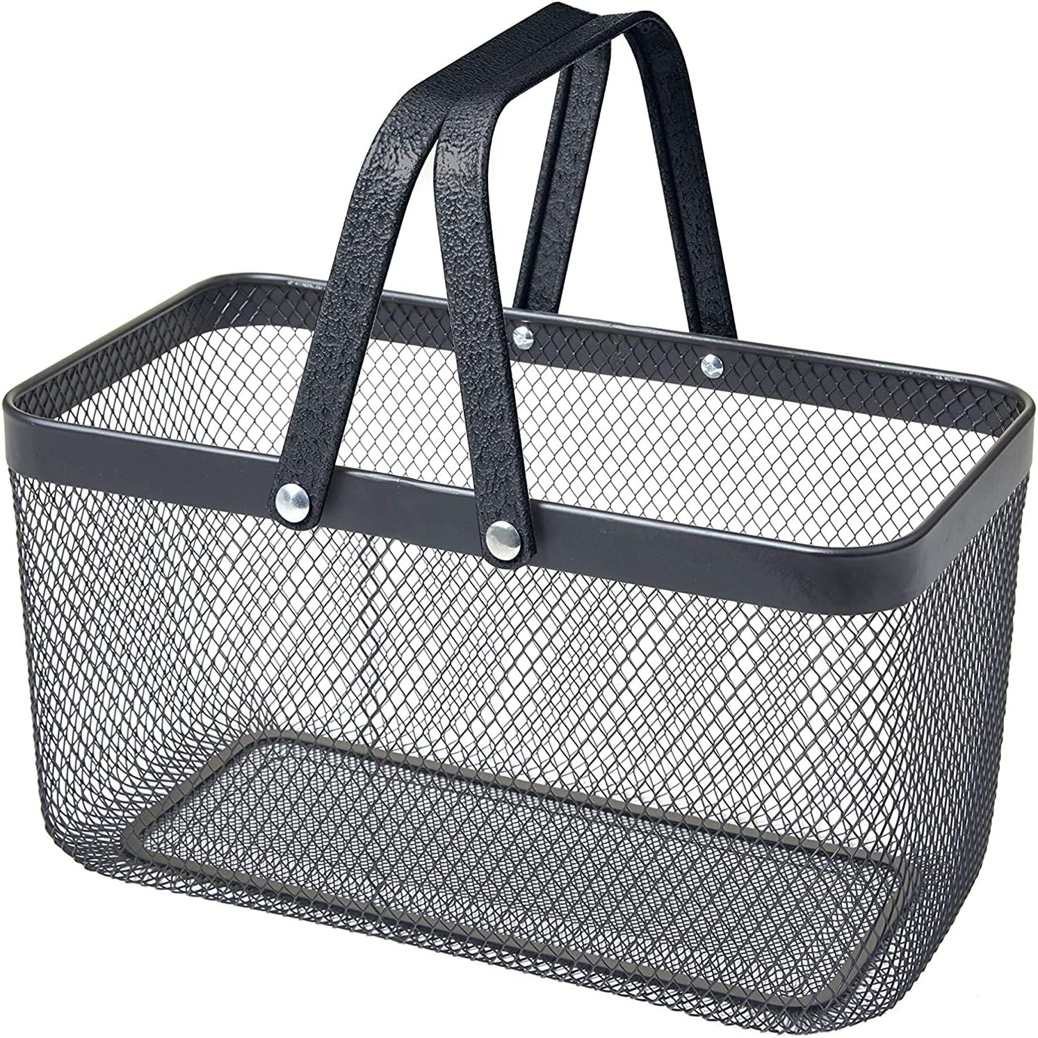 Nifty Solutions Decorative Square Bin. Mesh Black Color. Storage Basket with Handles, Large