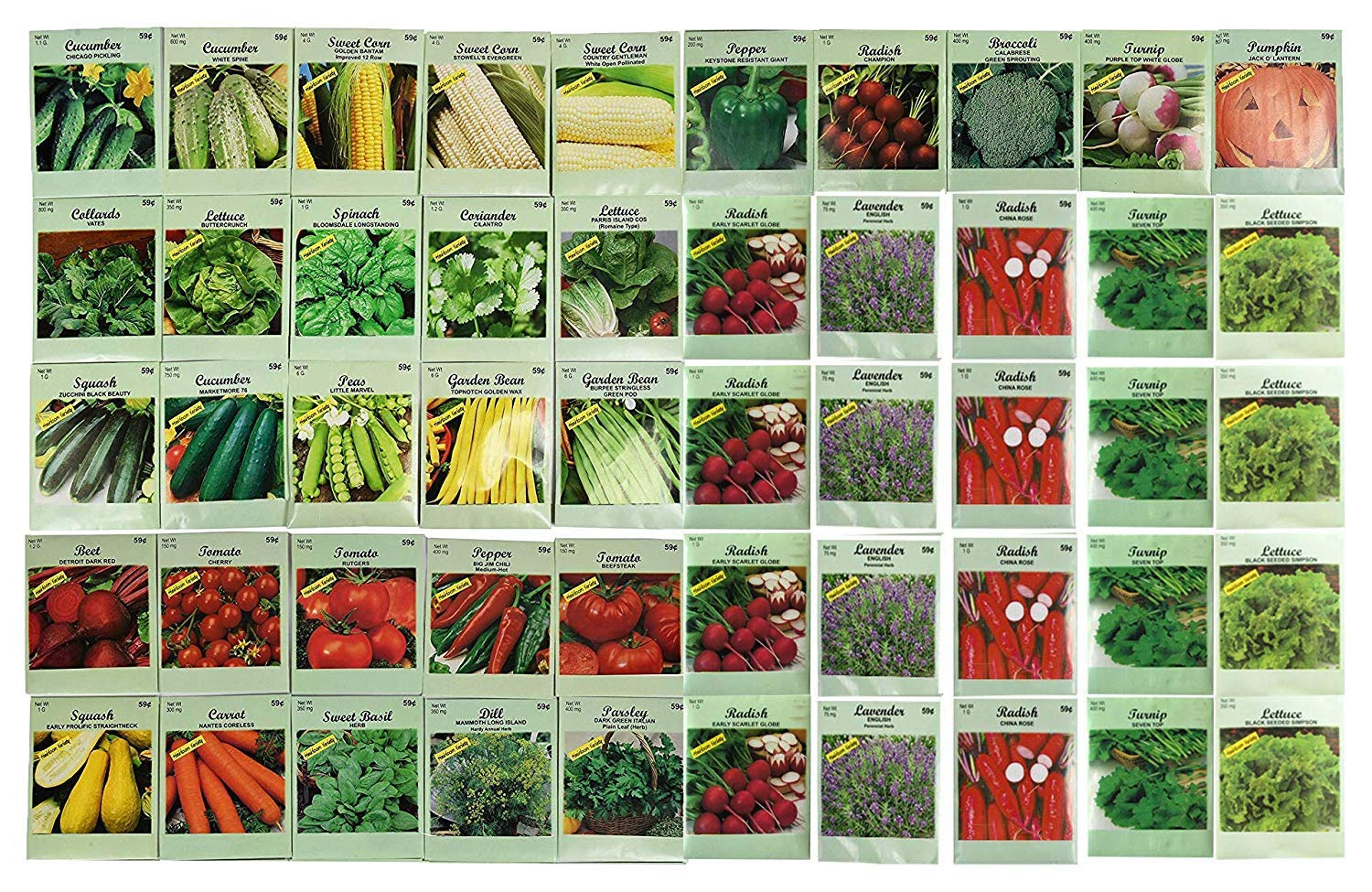 1000 Packs Assorted Heirloom Vegetable Seeds 30+ Varieties All Seeds are Heirloom, 100% Non-GMO Tens of Thousands Seeds (1000 Vegetable Seeds) by Black Duck Brand (Image #2)