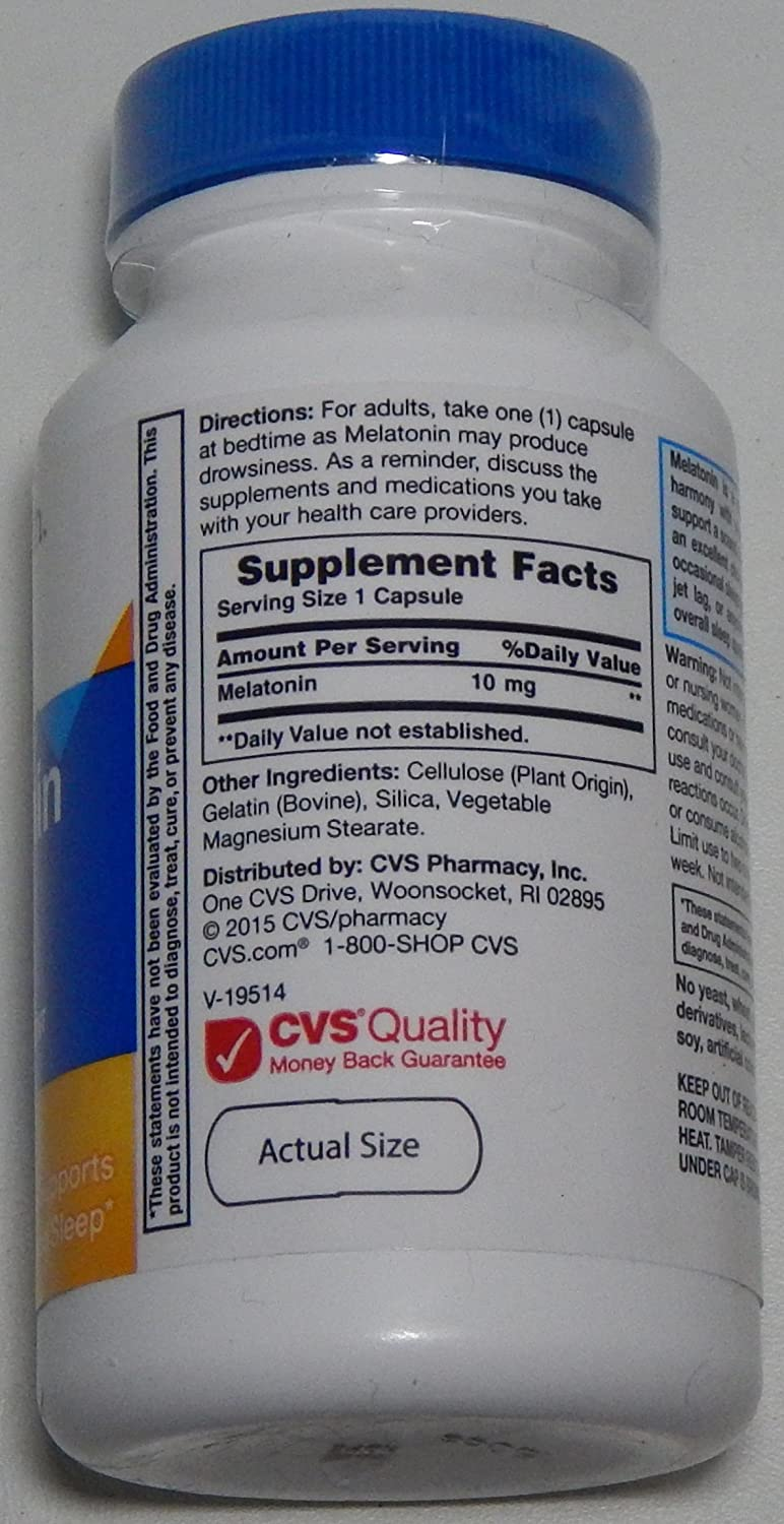 Amazon.com: CVS Health 10mg Melatonin Sleep Aid, 1 Bottle of 60 Capsules: Health & Personal Care