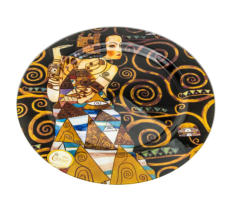 Carmani Painters Decorative Glass Serving Plate, Gustav Klimt Collection (Serving PlateExpectation)