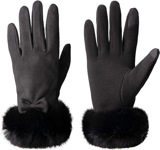 Vagasi Guanti Donna touchscreen in pelle PU con pile caldo per il ciclismo invernale