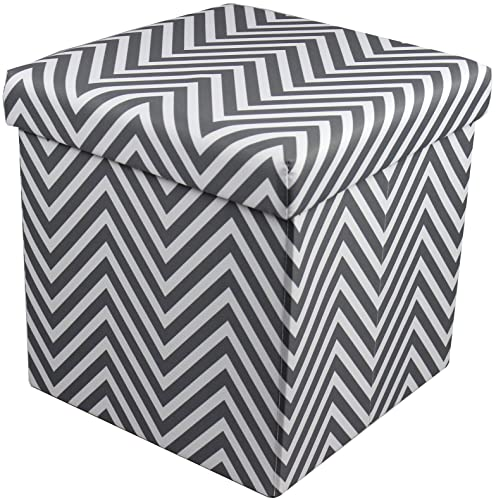 Sorbus Chevron Storage Ottoman Cube Foldable Collapsible with Lid Cover Perfect Hassock, Foot Stool, Toy Storage Chest, and More Small-Ottoman, Chevron Gray