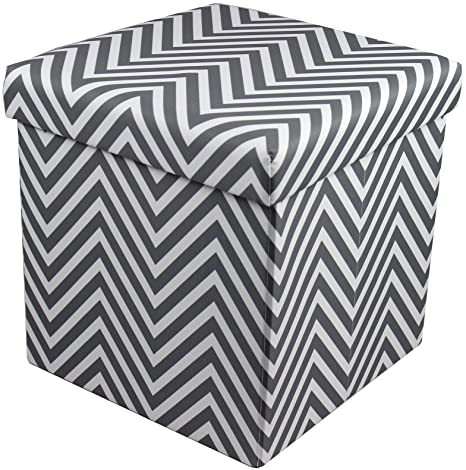 Prime Sorbus Chevron Storage Ottoman Cube Foldable Collapsible With Lid Cover Perfect Hassock Foot Stool Toy Storage Chest And More Small Ottoman Caraccident5 Cool Chair Designs And Ideas Caraccident5Info