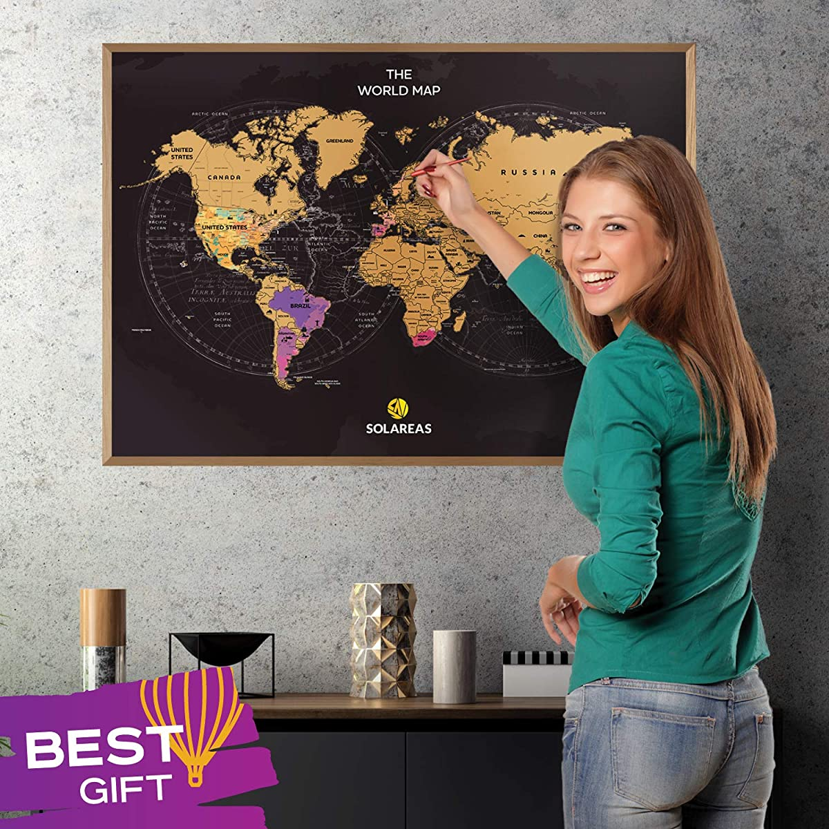 Solareas Scratch Off Map of The World - 33x23 Travel Tracker Maps Gift for Travelers - Unique Packaging - World Map Scratch Off Poster with Us States - Cool Trip Color Wall Decor Print Presents Ideas