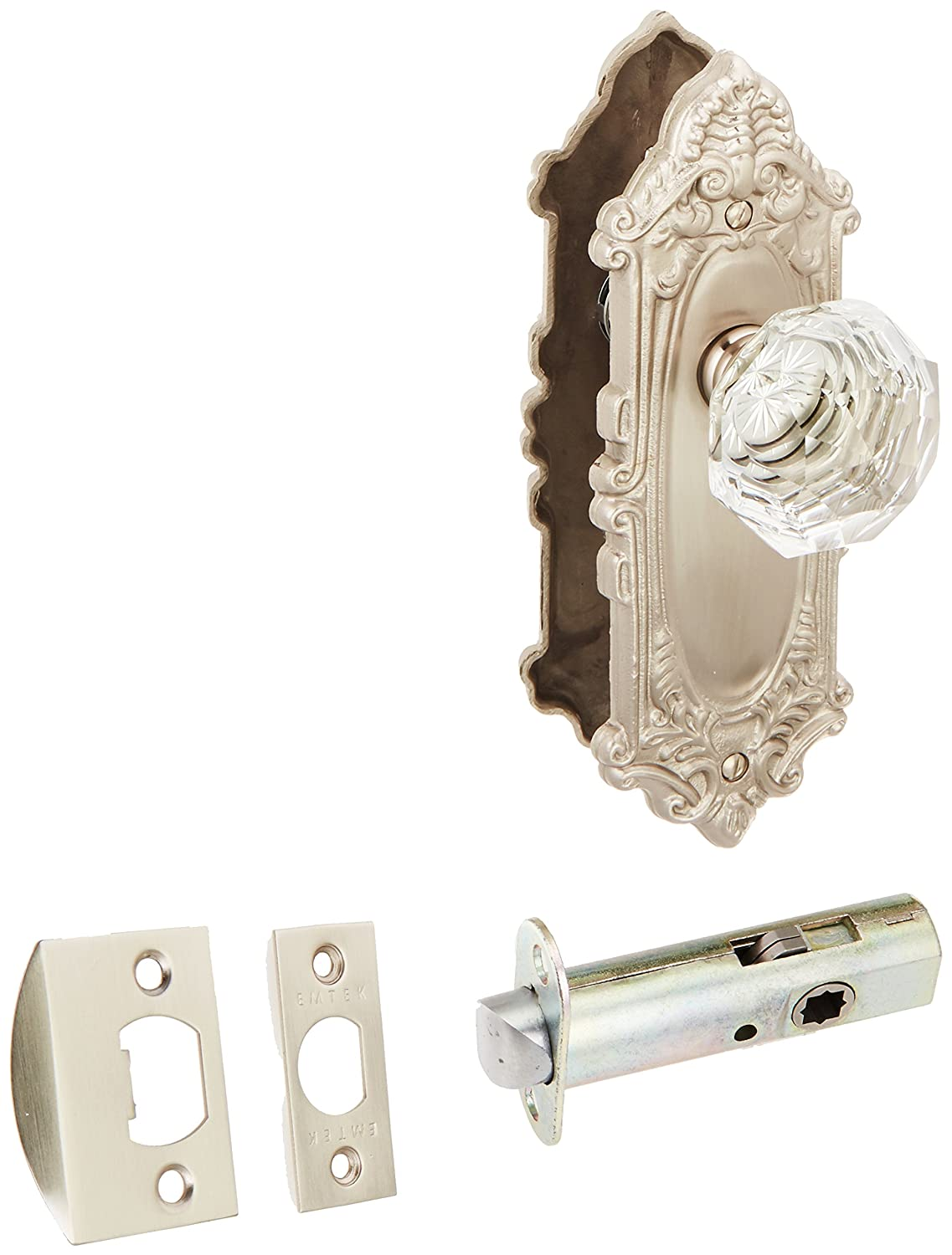Largoデザインドアセットwithダイヤモンドクリスタルノブ、in 4 Finishes 7.75 inches tall Satin Nickel, Privacy 2 3/8 Satin Nickel, Privacy 2 3/8 B005TXK5US