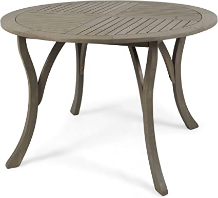 "Amazon.com : Christopher Knight Home 304868 Adn Outdoor 47"" Round Acacia Wood Dining Table, Grey : Garden & Outdoor"