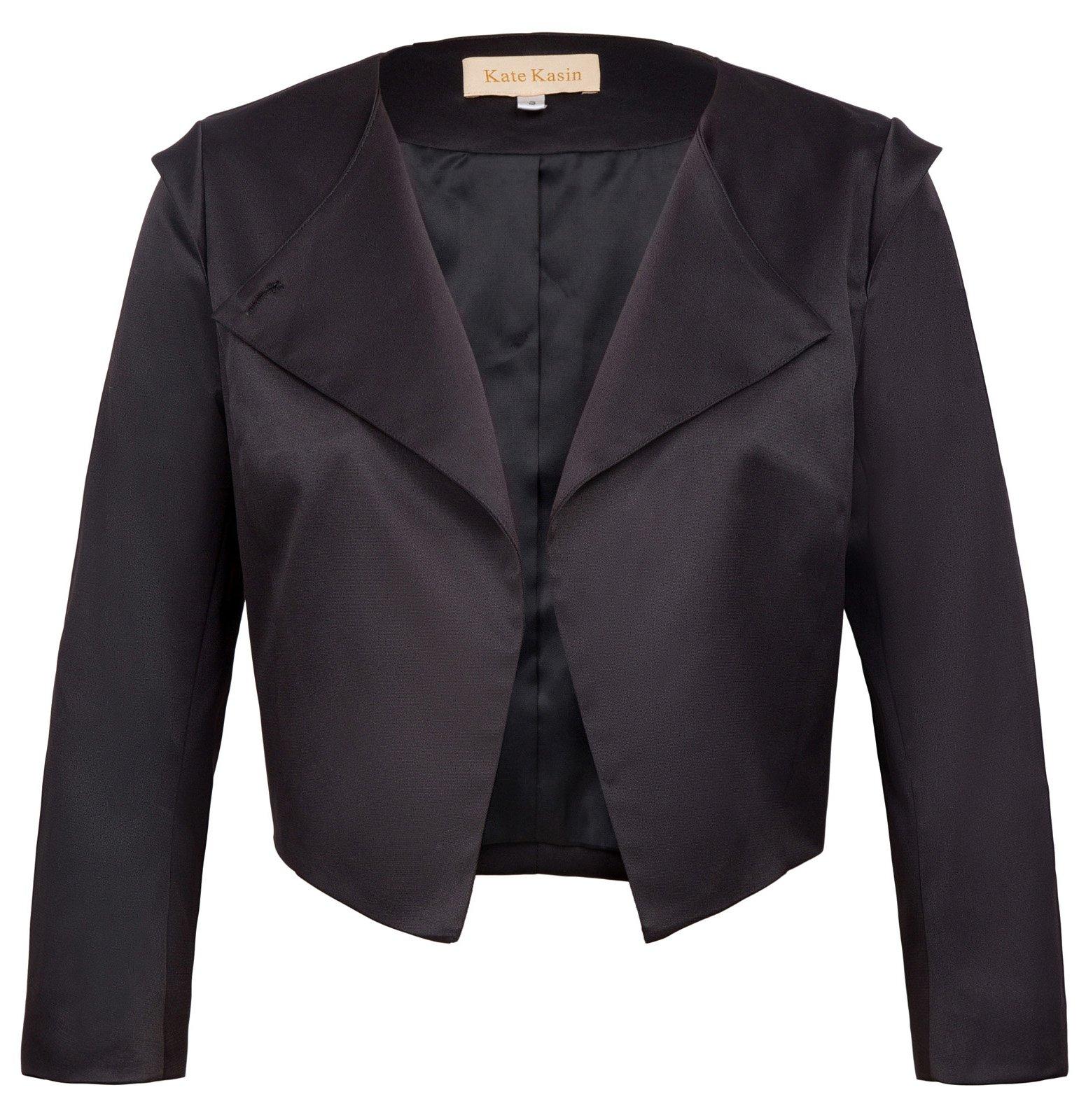 Women's Cropped Sleeves Lapel Collar Asymmetric Blazer Coat M KK773