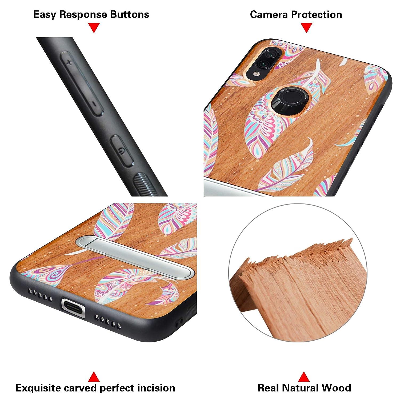 Case Cover Madera real+TPU Bumper Caso Funda para Xiaomi Redmi Note 7//Note 7 Pro//Note 7S HHDY Funda de Madera para Xiaomi Redmi Note 7//Note 7 Pro//Note 7S Carcasa Kickstand con Soporte de Metal Moon