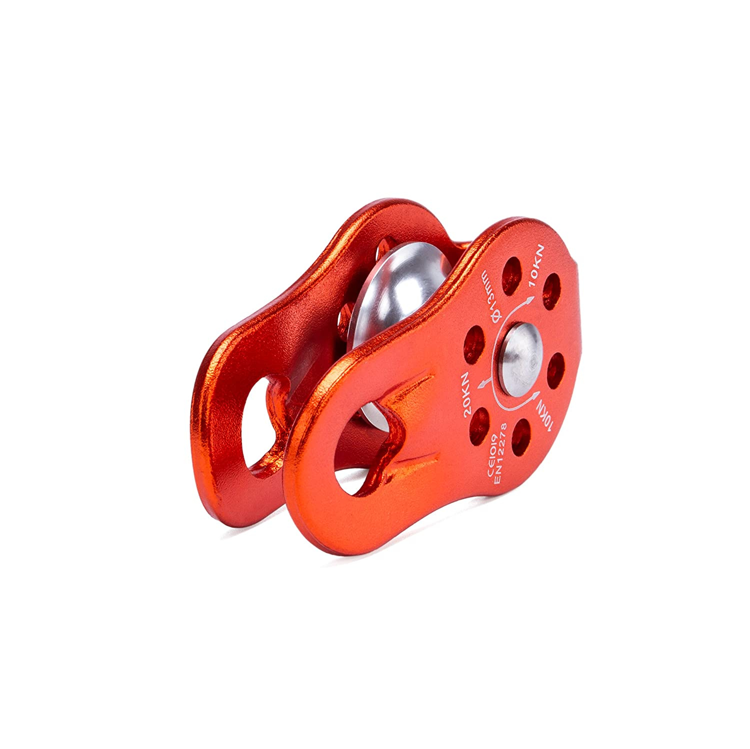 Aloft Work kissloves 20KN Aluminum Climbing Pulley Double Pulley with Swing Plates for Rescue Rope Climbing Setting A Tackle and Block in Your House Single Pulley - Red