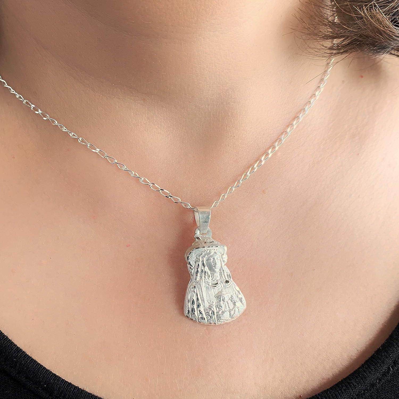 Mealla Religiosa Medalla Virgen del Roc/ío Pastora Silueta 18x25 mm Plata de Ley 925 mil/ésimas.