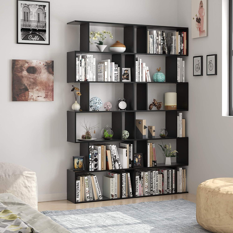 Nero Homfa Scaffale Libreria Mobile Soggiorno in Legno Mobile per Archiviazion Carico 30 kg 70 /× 23.5 /× 190.5cm