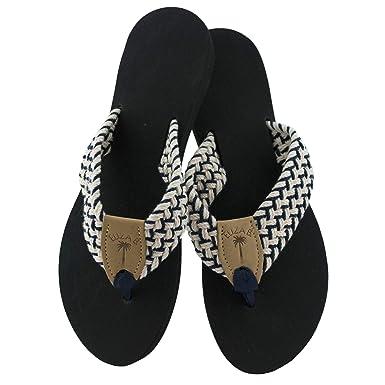 50caf6f0b6f9 Eliza B Newport Macrame Navy-Natural Sandal with Black Sole (6 US M Women