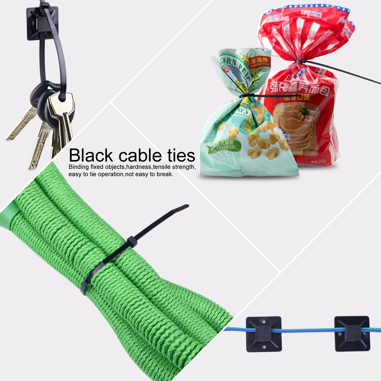 NOUVCOO 250pcs Self-locking Zip Ties Black 10 inches & 100pcs Self-adhesive Cable Tie Mounts Black 0.9x0.9 inch with Screw Holes for Home Office Garden Garage and Workshop NV03 by NOUVCOO (Image #6)