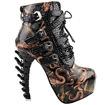SHOW STORY Punk Black Snake Print Lace Up Buckle Bone Heels Platform Ankle Boots, LF80648 | Ankle & Bootie