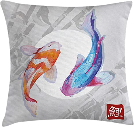 Amazon Com Ambesonne Koi Fish Throw Pillow Cushion Cover Watercolor Style Koi Fish Couple Design With Grunge Brushstrokes Based Paint Decorative Square Accent Pillow Case 20 X 20 Orange Blue Home Kitchen