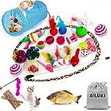 AILUKI 31 st. kattleksakssats med kattunnel Jingle Bell katter leksak Variety Pack för Kitty