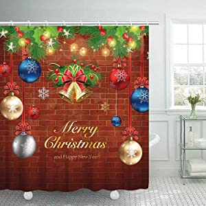 Christmas Shower Curtain, Merry Christmas Shower Curtain Set with 12 Hooks, Cedar Bells Fashion Red Silvery Balls Bathroom Curtain with Hooks, Xmas Decor Waterproof Fabric Shower Curtain, 72inch