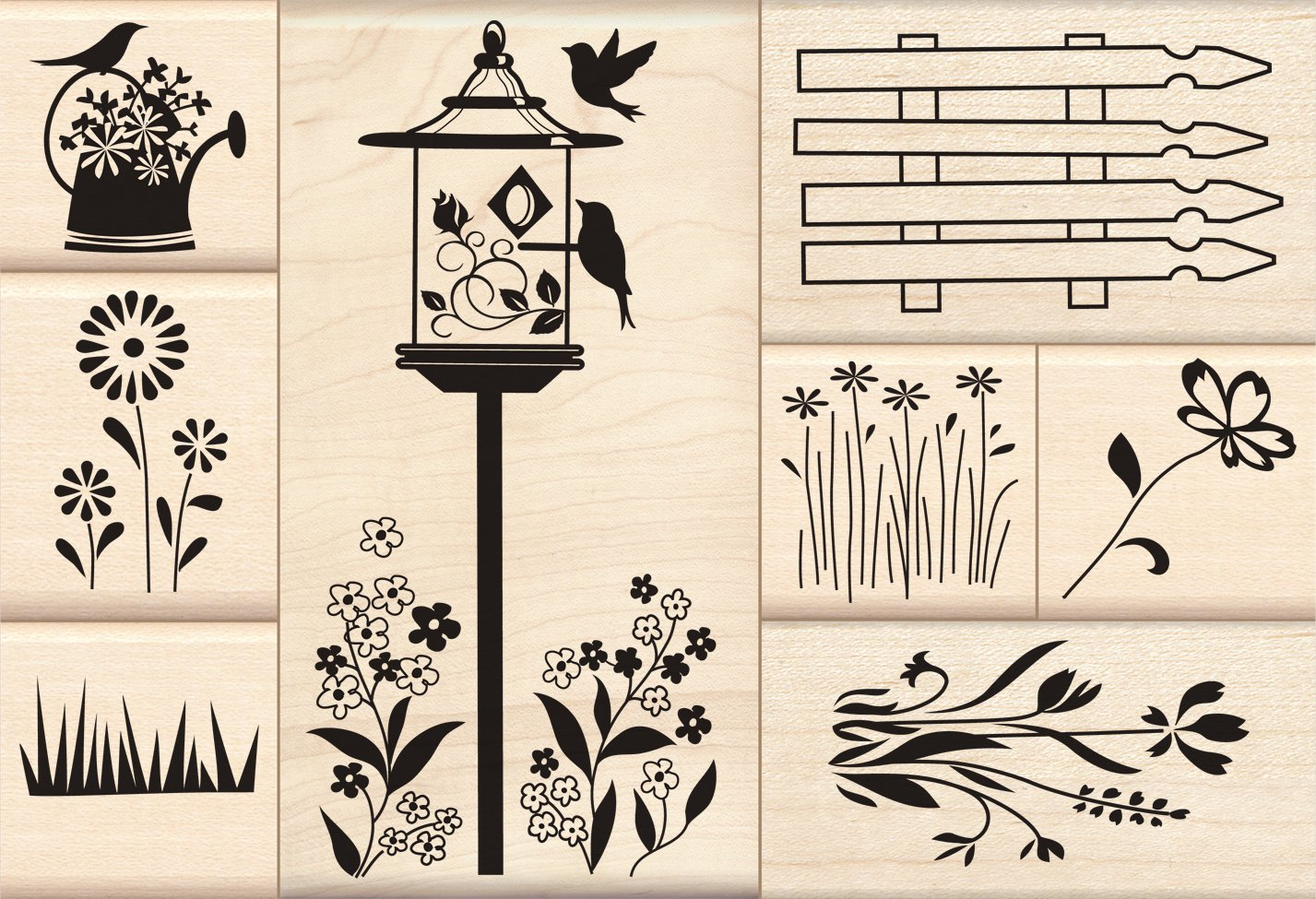 Inkadinkado Flower Garden Wood Stamp Set EKS 60-10043